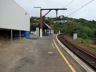 Crofton Downs railway station - From the station platform, looking in the direction of the station car park and north to Johnsonville.