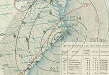 Weather map depicting a storm straddling the coast of North Carolina.