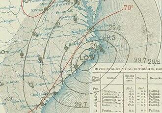 1910 Cuba hurricane - Image: Cuba hurricane 1910 10 20 weather map