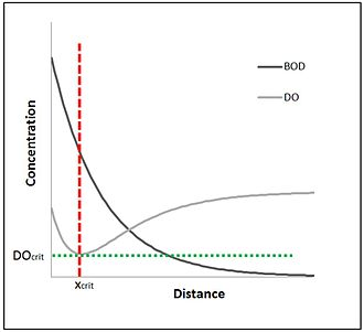 Streeter–Phelps equation - Streeter-Phelps DO sag curve and BOD development.