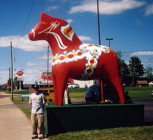 Suecophile - A Dalecarlian horse, a traditional symbol for Swedish folk culture, in Cloquet, Minnesota.