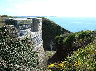 Dale Fort - The bastion projecting into the ditch, which defends the landward approach to Dale Fort.