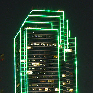 Bank of America Plaza (Dallas) - Lighting at night.