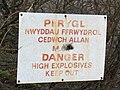 Danger Explosive Substances - Sign at Upper Glynrhonwy Quarry - geograph.org.uk - 311654.jpg
