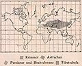 Das Kürschner-Handwerk, II. Auflage 3. Teil, S. 65, Weltkarte Verbreitung Krimmer, Astrachan, Persianer und Breitschwanz, Tibetschafe (1910).jpg