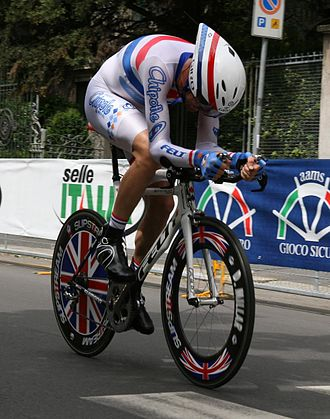 British National Time Trial Championships - David Millar wearing the National Time Trial Champion's Jersey in 2008