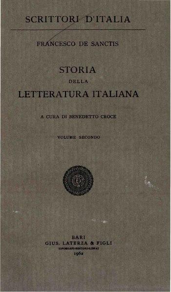 File:De Sanctis, Francesco – Storia della letteratura italiana, Vol. II, 1962 – BEIC 1808914.pdf