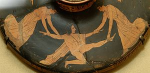 The Bacchae - Pentheus being torn apart by Agave and Ino, Attic red-figure vase.