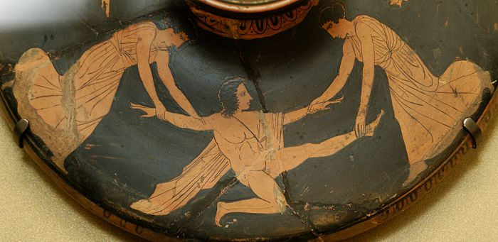 Pentheus torn apart by Agave and Ino. Attic red-figure lekanis (cosmetics bowl) lid, c. 450-425 BCE (Louvre) - Dionysus