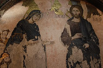 "Catholic Mariology - A Christ and Mary, mosaic, Chora Church, 12-14th century. ""To Christ through Mary"", taught by St. Louis de Montfort"