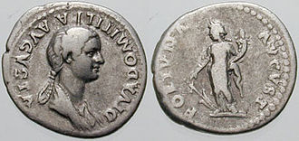 Denarius - Flavia Domitilla, wife of Vespasian and mother of Titus and Domitian.