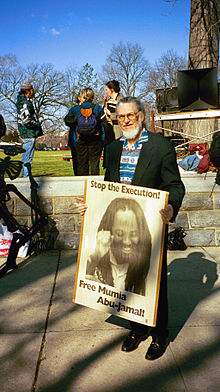 Dennis Brutus at SupremeCourt protest for Mumia Abu-Jamal 2000.JPG