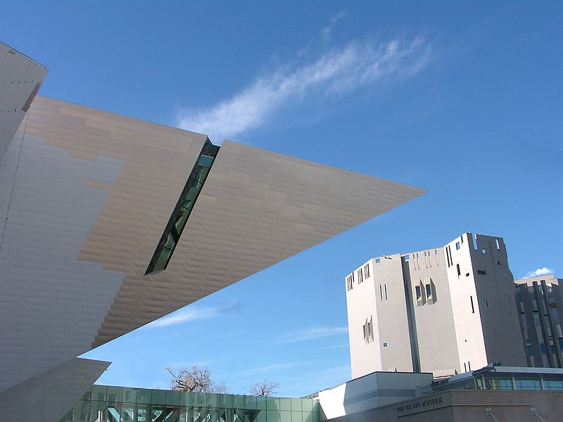 Denver Art Museum, Edge of Libeskind's Hamilton and Main Buildings, some street furniture photoshopped out