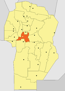Location o Santa María Depairtment in Córdoba Province