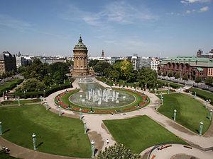 Mannheim - View over Mannheim with Wasserturm