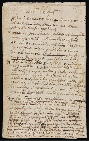 John Winthrop the Younger - First page of a diary kept by Winthrop of his journey from Boston to Saybrook, Connecticut, in 1645