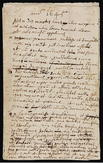 John Winthrop the Younger - First page of a diary kept by Winthrop of his journey from Boston to Saybrook, Connecticut in 1645