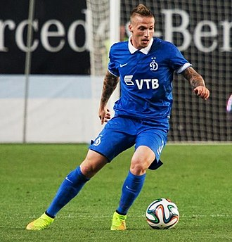 Alexander Büttner - Büttner playing for Dynamo Moscow in the UEFA Europa League match against Omonia, in which he scored during the match.