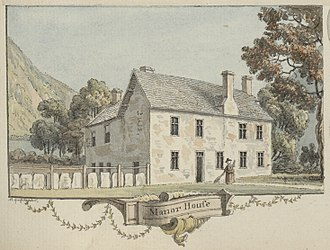 Dinas Mawddwy - Y Plas, the medieval manor house of the Lords of Mawddwy, seen in 1780