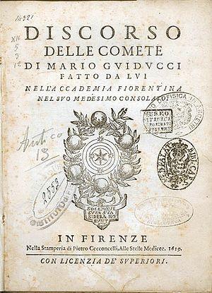Discourse on Comets - Frontespiece of Discorso delle Comete