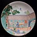 Dish with opera scene from the Peony Pavilion, China, Qing dynasty, Kangxi period, 1662-1722, porcelain famille verte - Östasiatiska museet, Stockholm - DSC09491.JPG