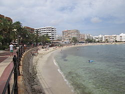 The beach of Santa Eulària des Riu in 2014