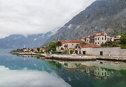 View of the town of Dobrota, a location of about 8,000 inhabitants in the Bay of Kotor, Montenegro.