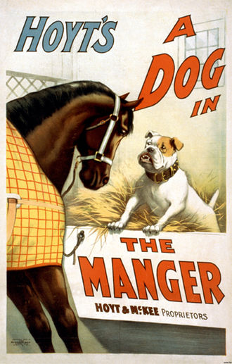 The Dog in the Manger - An 1899 theatre poster for the farce by Charles Hale Hoyt.