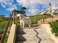 Dog on Stairs to Lighthouse Field State Beach (8322989578).jpg