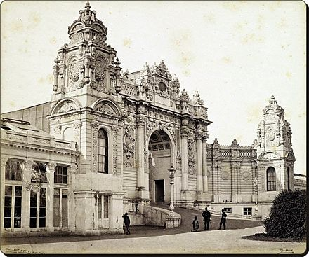 Photo of the main entrance of Dolmabahce Palace in 1862, taken by Francis Bedford Dolmabahce Palace in 1862.jpg