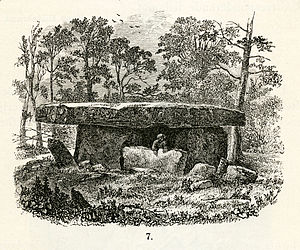 "Prehistoric Asia - Dolmen from Godavari district, Andhra Pradesh, India. Woodcut from the article ""Indiska fornsaker"" by Hans Hildebrand."