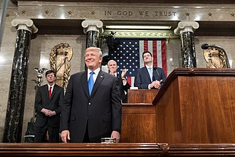 2018 State of the Union Address - Trump next to the podium prior to delivering the speech