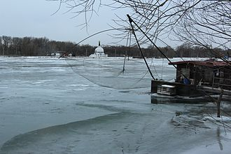 Early 2012 European cold wave - The Danube frozen near power plant at Vienna Freudenau