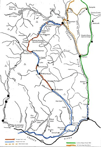 Douglas Road - Route of the Douglas Road (water portions in blue, land portions in red) and the Cariboo Road (green)