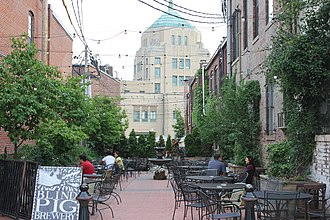 Champaign, Illinois - North view of one of several alleyways in Downtown Champaign