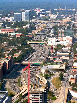 Aerial view of the Downtown Connector in Atlan...
