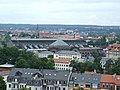Drážďany, Neustadt, kostel Dreikönigskirche, pohled na nádraží Dresden Neustadt.jpg