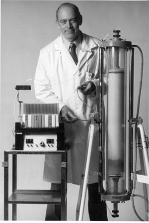 Roscoe Brady -  Dr. Brady developed the first enzyme replacement therapy for Gaucher Disease, which has become a model for treatments of other inherited enzymatic diseases. Here he is standing next to a column chromatograph.