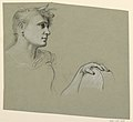 Drawing, woman's profile and left hand study, ca. 1885 (CH 18404379).jpg