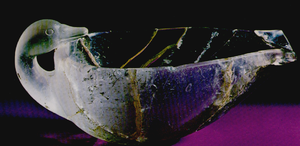 "Grave Circle B, Mycenae - Crystal duck-shaped bowl, shaft grave ""Omikron""."