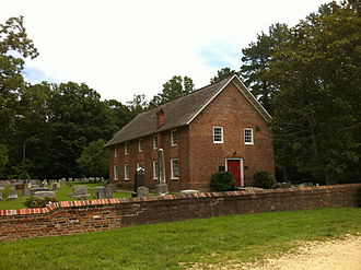 Christ Church (Ironsides, Maryland) - Christ Church, Durham Parish, Charles County, Maryland, 1732 church building, view from front showing the northside graves.