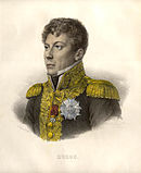 Colored print of a clean-shaven man in a high-collared dark uniform coat with gold epaulettes and gold braid. He looks to the viewer's left.
