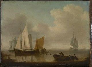 Dutch vessels becalmed near the shore