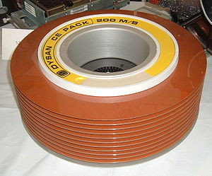Disk pack - 1970s vintage 200 megabyte disk pack manufactured by Dysan, with the cover removed