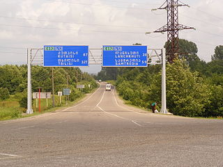 E60 and E692 crossroad in Supsa.JPG