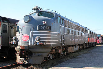 EMD F-unit - An EMD FL9 locomotive at Danbury Railway Museum in New York Central's passenger locomotive colors. The NYC did not own any FL9s.