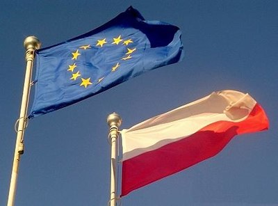 Poland became a member state of the European Union on 1 May 2004. EU and PL flags.jpg