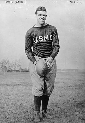 1915 College Football All-America Team - Harvard's three-time All-American fullback Eddie Mahan was rated by Jim Thorpe as the best player he ever faced.