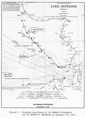 Map of Fitzgerald's probable course on final voyage