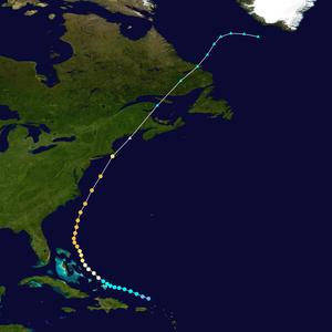 Hurricane Edna - Image: Edna 1954 track